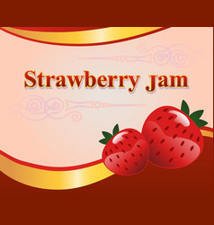 Strawberry jam label design template vector