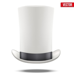 Tall White gentleman hat cylinder with black vector image