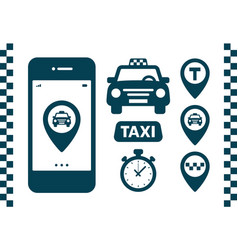 taxi icons set flat style dark icons on white vector image