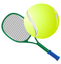 tennis racket and yellow tennis ball vector image