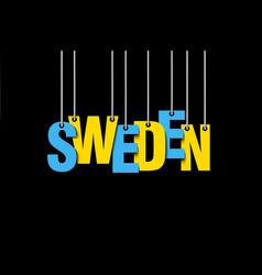 the word sweden hang on the ropes vector image