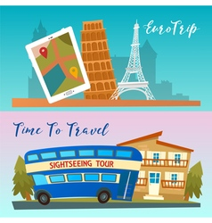Time to Travel by Bus Euro Trip Travel banners vector