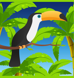 toucan sitting on branch with leaves vector image