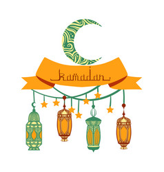 traditional lantern garland of ramadan kareem vector image