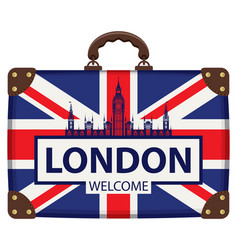 Travel suitcase with flag of britain and big ben vector