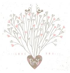 Tree hearts design vector