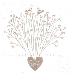 Tree hearts design vector image