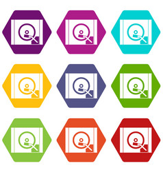 turntable icon set color hexahedron vector image