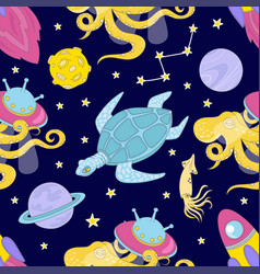 Universe cloth space galaxy ocean seamless pattern vector