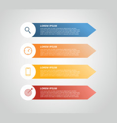 Vertical label infographic with 4 step with icon vector