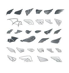wings set design elements vector image
