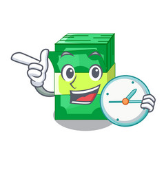 With clock stack of dollars isolated on mascot vector