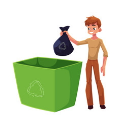 Young man putting garbage bag into trash bin vector