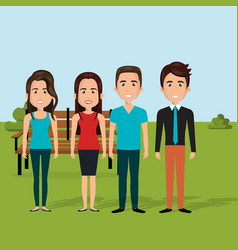 young people in the field characters scene vector image