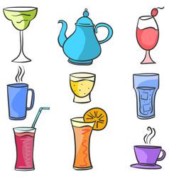 drink set various doodle art vector image