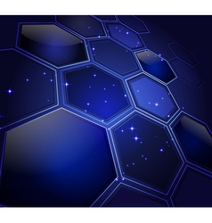 glowing honeycombs and stars vector image