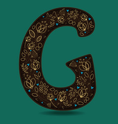 Letter g with golden floral decor vector