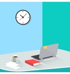 Office Work Place with Laptop and Coffee vector image