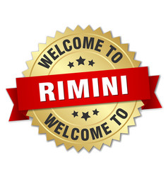 rimini 3d gold badge with red ribbon vector image vector image