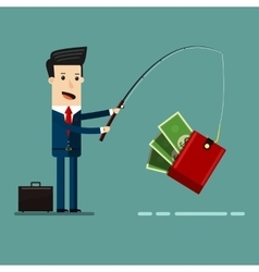 Businessman Catching Money With Fishing Rod vector image vector image