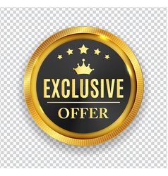 exclusive offer golden medal icon seal sig vector image vector image