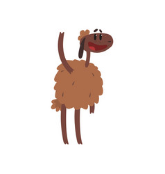funny brown sheep character standing with raised vector image