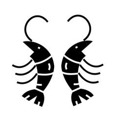 shrimp icon black sign on vector image