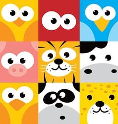 Square animal face icon button set vector