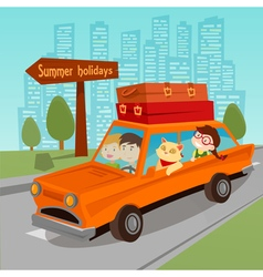 Travel by Car Family Summer Holidays Family in Car vector image