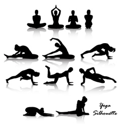 Yoga position silhouette set vector image