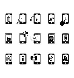 black icons for mobile phone vector image vector image