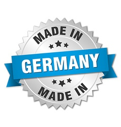 Made in germany silver badge with blue ribbon vector