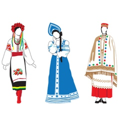 Women in their national costumes vector image