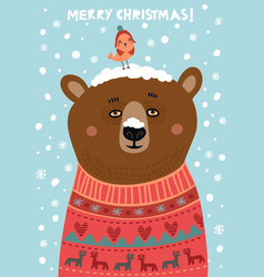 bear christmas card vector image vector image