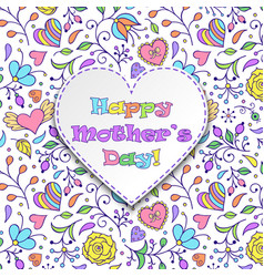 card with flowers and hearts vector image
