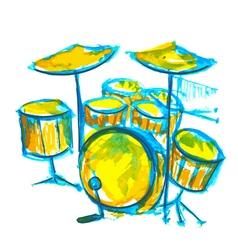 drums watercolor vector image vector image