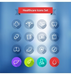 Hospital Blur Background With Flat Icons Set vector image
