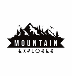Mountain explorer adventure black and white badge vector
