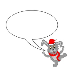 A funny Christmas rabbit with a speech bubble vector image