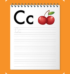 Alphabet tracing worksheet with letter c and c vector