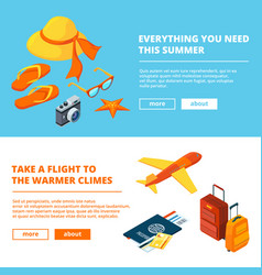 banners of summer time isometric of vector image