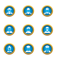 beneficiary icons set flat style vector image