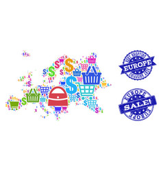 Best shopping composition of mosaic map of europe vector