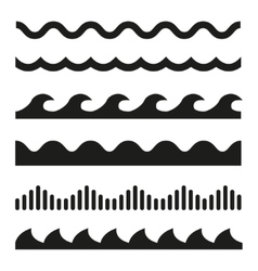 black wave icons set vector image