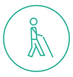 Blind man with stick line icon vector