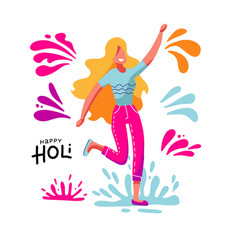 blond young woman having fun throwing colorful vector image