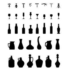 Bowls bottles glasses and corkscrew vector
