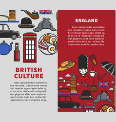 British culture vertical travel booklets with vector