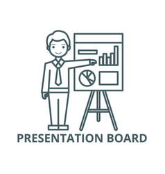 businessman showing presentation board line icon vector image