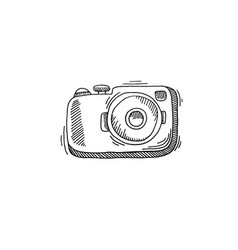 camera sketch drawing icon summer themed vector image